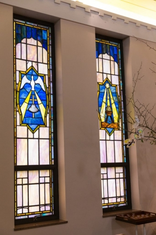 These stained glass windows were designed by Pastor Robert Musser who served as pastor from 1978 to 2015.