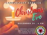 Christmas Eve - Dec. 24 - Candlelight Service - 4 p.m.