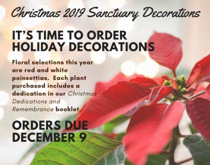 Christmas Sanctuary Decorations - Due Dec. 9